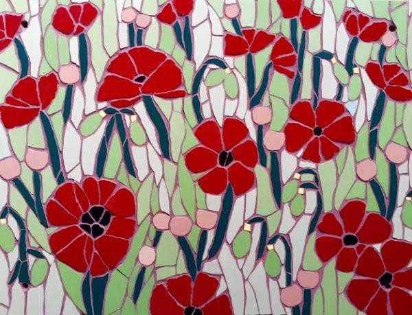 Field of poppies garden mosaic