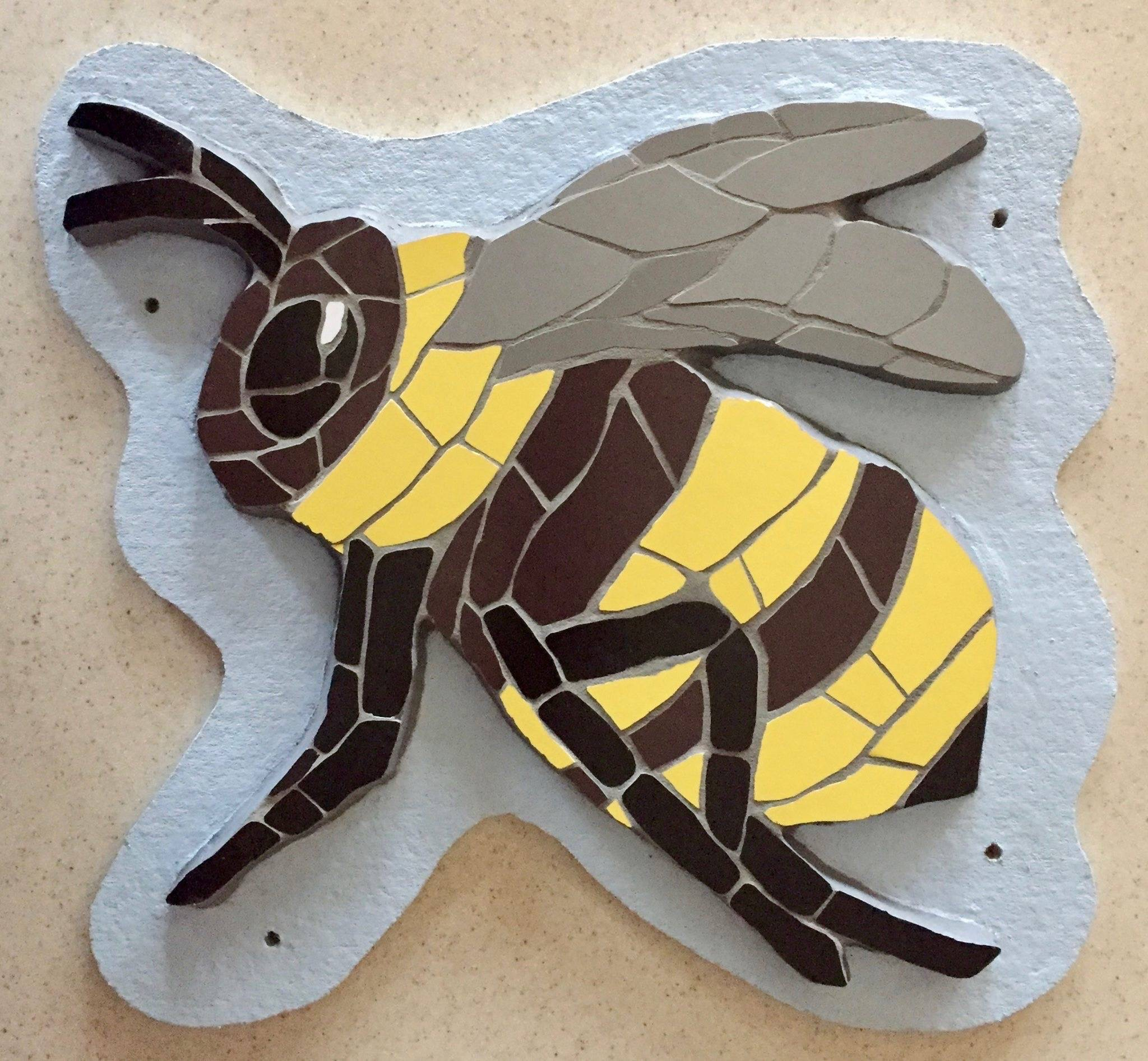 Unique mosaic bee 3D wall hanging ready to fly!